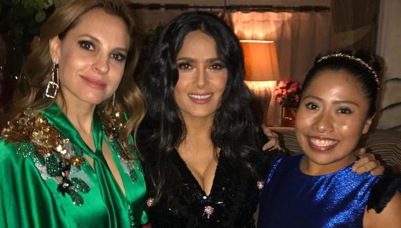 Salma Hayek, Yalitza Aparicio y Marina de Tavira coincidieron en una cena en Londres. (Foto: @salmahayek)