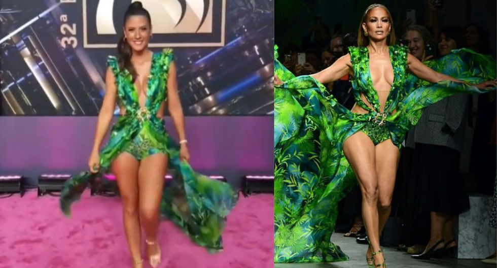 María Pía Copello se robó las miradas en los Premios Lo Nuestro por usar un vestido similar al de Jennifer Lopez. (Captura de TV)
