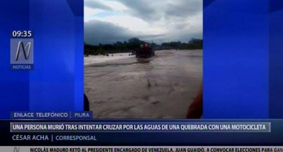 Persona muere tras intentar cruzar por las aguas de una quebrada con una motocicleta (Captura:Canal N)