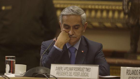 El ex presidente del Poder Judicial, Duberlí Rodríguez, renunció luego de haber sido mencionado en los audios que implicaron a miembros del CNM y a jueces como Walter Ríos y César Hinostroza. (Foto: USI)