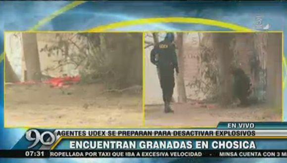 Hallan 3 explosivos artesanales envueltos en trapos rojos con la hoz y el martillo en Chosica. (Captura de video)