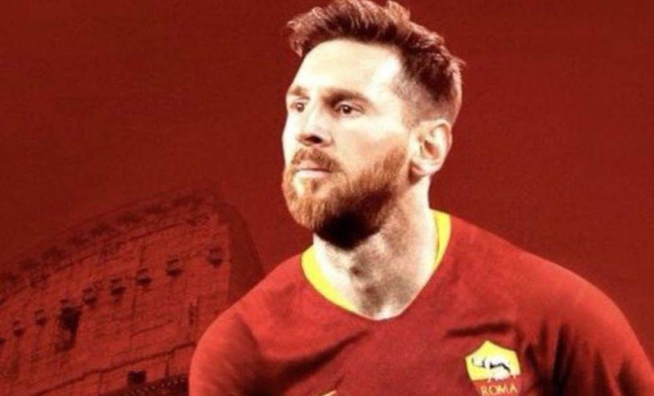 Lionel Messi vestido con la camiseta de los capitalinos (Foto: Roma).
