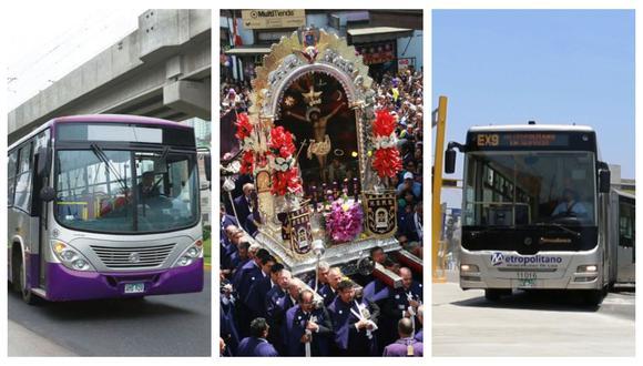 Buses de los corredores Azul y Morado también modificarán su ruta por primera salida de la imagen del Señor de los Milagros. (Foto: Andina/Archivo GEC/Andina)
