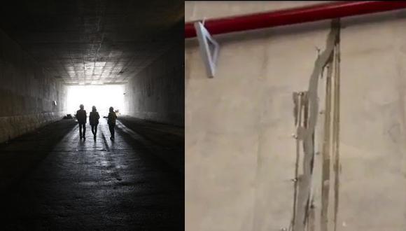 Así lucen las fisuras dentro del túnel.