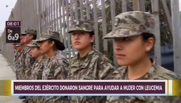 Miembros del ejército donan sangre a mujer que padece de leucemia.(Foto: Canal N)