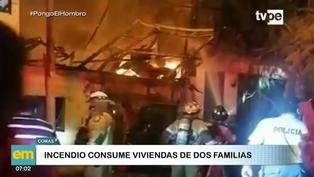Incendio deja dos familias damnificadas en Comas