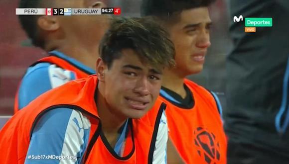 Uruguay quedó eliminado de la hexahonal final del Sudamericano Sub 17 en medio de lágrimas. (Movistar Deportes)