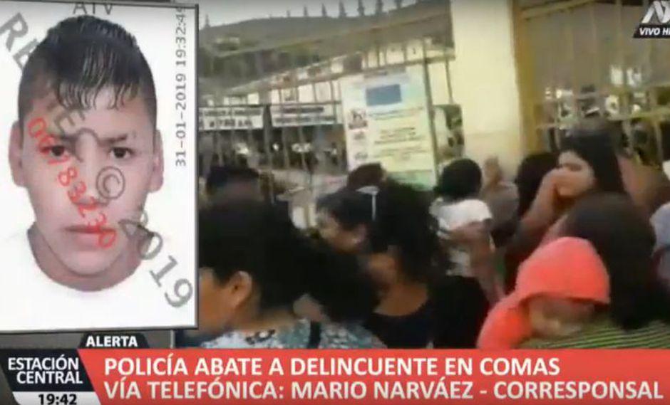Los familiares del presunto delincuente protestaron en los exteriores del hospital Sergio Bernales, (ATV+)