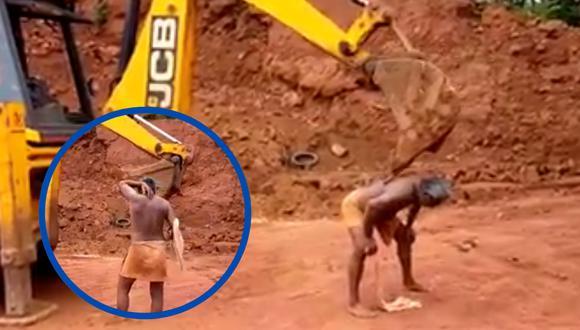 Un video viral muestra el peculiar uso que un hombre le dio a una máquina retroexcavadora en un sitio de construcción. | Crédito: ABDUL NASAR / Facebook.