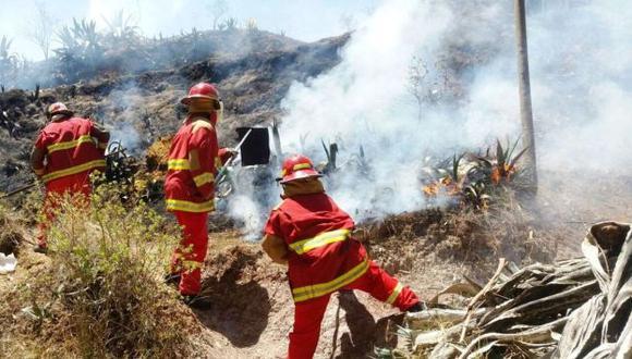 Voraz. Densa humareda amenaza con llegar a cascos urbanos. (Andina)