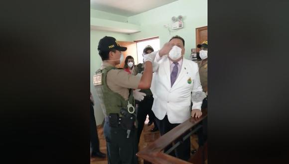 Secretario general del Sinamssop fue detenido en plena conferencia de prensa. (Captura)