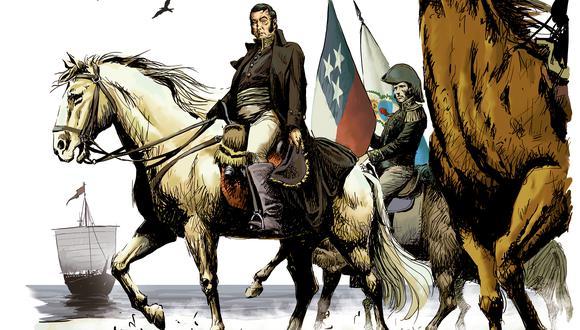 Mechaín ilustra la llegada de la expedición libertadora.