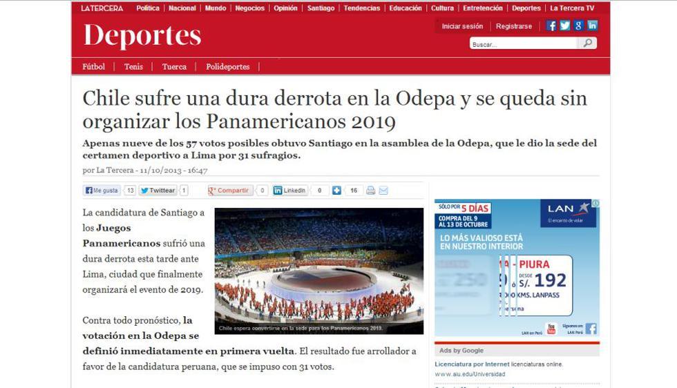 La Tercera calificó de dura la derrota ante Perú en la elección de la sede de los Juegos Panamericanos 2019.