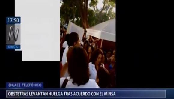 Luego de 15 días de protesta, la Federación de Obstetras del Perú pone fin a la huelga tras llegar un acuerdo con la ministra de Salud, Silvia Pessah. (Video: Canal N)