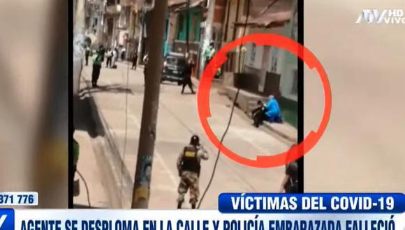 Policía con COVID-19 se desplomó en calle del distrito de Pasco. (Captura)