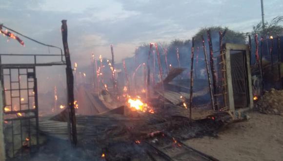 Piura: más de 10 familias damnificadas tras incendio en Sullana (Foto: Municipalidad Provincial Sullana).