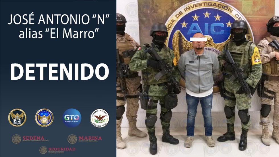 José Antonio 'N', mejor conocido como 'El Marro', líder del Cártel de Santa Rosa de Lima en México, fue detenido en horas de la madrugada. (Foto:  Fiscalía General del Estado de Guanajuato)