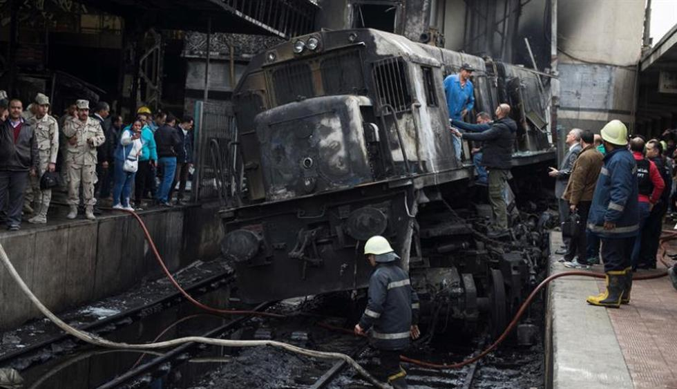 Al menos 20 muertos en un accidente en estación de tren de El Cairo. (Foto: EFE)