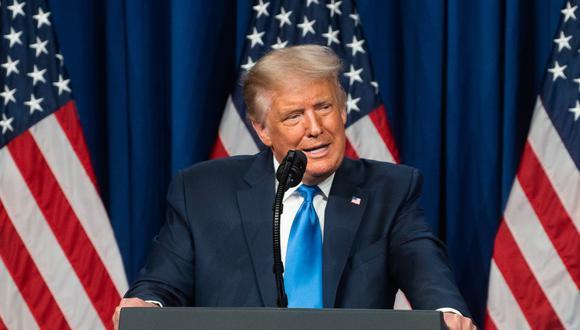 Donald Trump hizo una aparición sorpresa en la convención republicana en Charlotte. (Foto: Jessica KOSCIELNIAK / POOL / AFP)