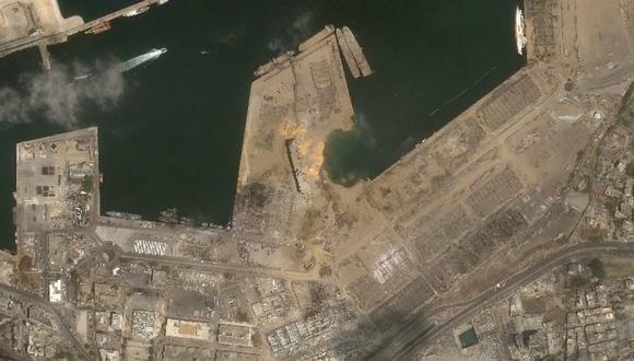 Así se observan los daños en la actualidad del puerto de Beirut desde el el satélite Perú SAT-1. (Agencia Espacial del Perú – CONIDA)