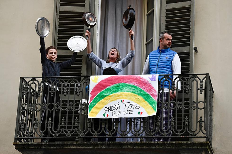 Turín, barrio de San Salvario durante la cuarentena en Italia. (Foto: Getty Images)