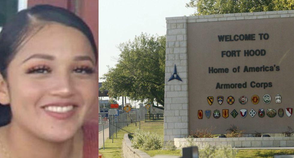 Imagen de la soldado latina Vanessa Guillén y la entrada de la base militar de Fort Hood en Texas. (Captura - Twitter/AP - Jack Plunkett).