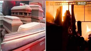 San Juan de Lurigancho: incendio consume taller de ataúdes por presunto cortocircuito