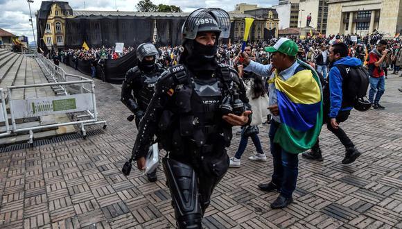 Esmad, la fuerza especial acusada de encender la protesta en Colombia. (AFP)
