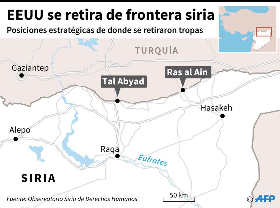 Mapa localizando dos posiciones estratégicas en la frontera norte de Siria de donde se retiraron tropas de Estados Unidos, según Observatorio Sirio de Derechos Humanos. (Infografía: AFP)