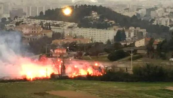 Hinchas de Marsella causan incendios y golean a jugador (Foto: @lequipe)