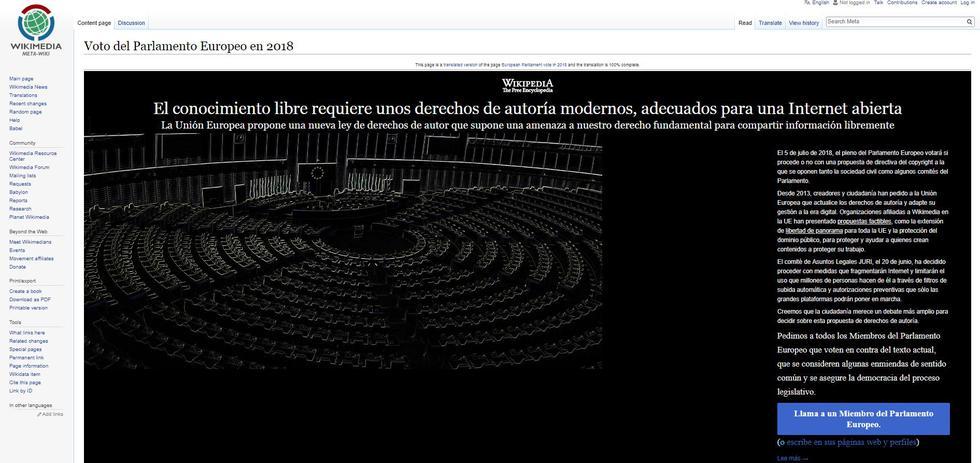 """Wikipedia """"cierra"""" en protesta a propuesta de regulación en Europa"""