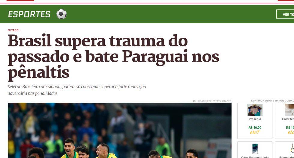 Así informó la prensa internacional la clasificación de Brasil y la tristeza de Paraguay. (Captura: Metrópolis de Brasil)