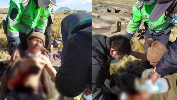 Los policías le hicieron un torniquete al anciano para que no desangre en el trayecto al hospital. (Foto: Arequipa es Diferente)