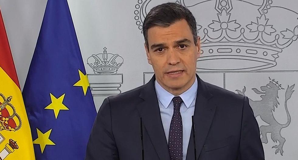 Pedro Sánchez se expresa en rueda de prensa telemática en el Palacio de la Moncloa. El gobierno de España pedirá prolongar el estado de alarma en medio del coronavirus. (EFE/EPA/Captura de video).
