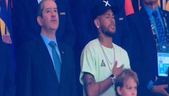 Perú vs. Brasil: Neymar se sumó al canto de su himno en el Maracaná. (Captura América TV)