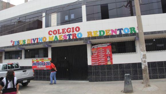 El segundo colegio intervenido fue Jesús Divino Maestro Redentor, que funciona en un local de dos pisos situado en la calle Úrsula Pereda N° 180, en la urbanización Las Begonias. (Minedu)