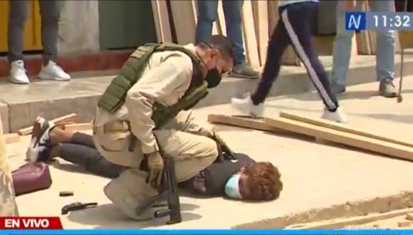 Robo frustrado se produjo en negocio ubicado en la Av. Los Algarrobos, en el distrito de Puente Piedra. Foto: captura Canal N