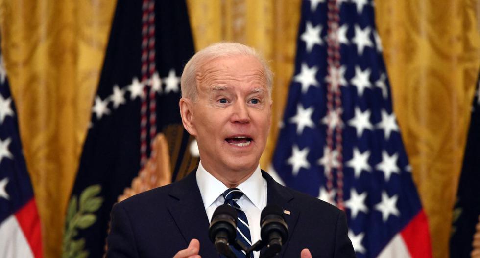 Joe Biden en su primera rueda de prensa desde que llegó al poder en Estados Unidos. (Foto: Jim WATSON / AFP).