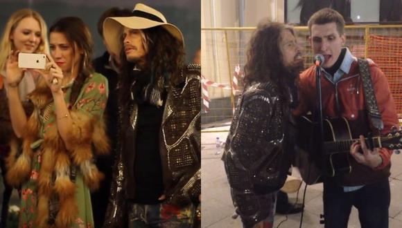 Steven Tyler cantó junto a un músico callejero en Moscú (Youtube)