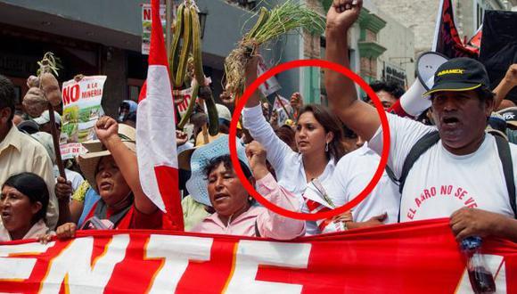 Tia Maria: Ana María Solórzano, entonces candidata de Arequipa al Congreso, en paro indefinido convocado por el Frente de Denfensa del Valle de Tambo. (elbuho.pe)
