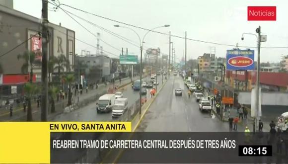 Reabren uno de los tramos el tramo de la Carretera Central, entre el puente Santa Anita con la avenida Los Frutales. (Captura: TV Perú Noticias)