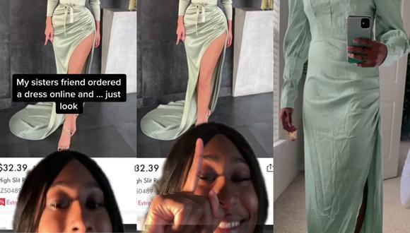 Un video viral muestra la desastrosa experiencia de una mujer al comprar un vestido por Internet que creía perfecto para ella. | Crédito: @nat.tyson / TikTok