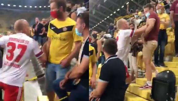 Un altercado se registró en la tribuna al término del Hamburgo vs Dinamo Dresden por la Copa Alemania entre Toni Leistner y un aficionado. | Crédito: @AndrewCesare / Twitter.