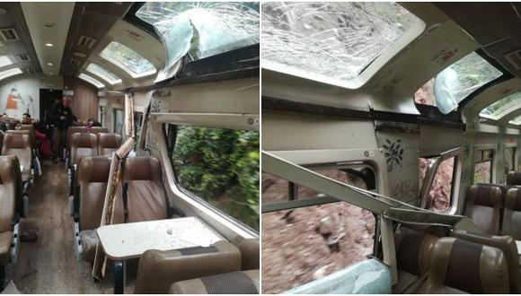 Caída de roca afectó la estructura de uno de los vagones del tren 'Expedition' que traslada turistas a Machu Picchu. (Facebook)