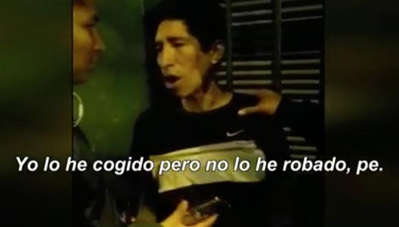 Ladrón buscó excusarse ante los agentes que lo detuvieron por robar un celular. (Captura/Canal N)