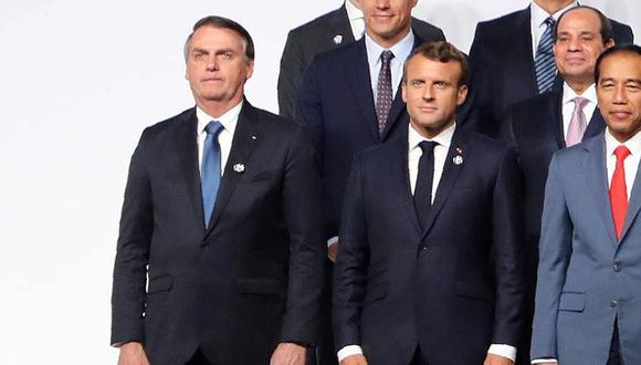Jair Bolsonaro y Emmanuel Macron, durante el G20, en Japón. (Foto: AFP)