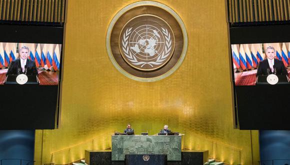 El presidente de Colombia, Iván Duque Márquez, habla virtualmente durante la 75a Asamblea General anual de la ONU, que se lleva a cabo principalmente de manera virtual debido a la pandemia de la enfermedad del coronavirus. (Reuters).