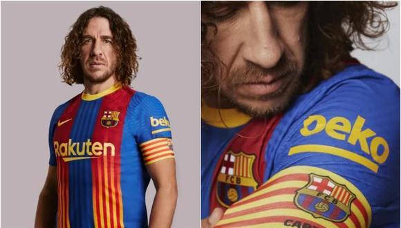 Carles Puyol presentó la camiseta especial de Barcelona para el próximo clásico ante Real Madrid. (Foto: @FCBarcelona_es)