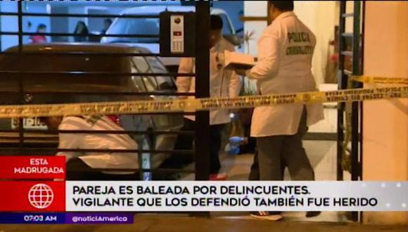 El vigilante del edificio identificado como Louilio Arce Celgueron recibió dos disparos en el abdomen y uno en la pierna. (América Tv)
