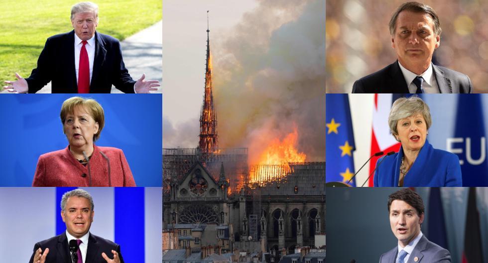 El mundo deplora el incendio en la catedral de Notre Dame. (Foto: AFP - EFE)
